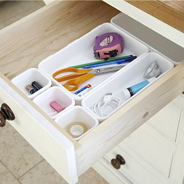 8 Piece Interlocking Bin Set White - drawer organizers, you can reposition them into different configurations.
