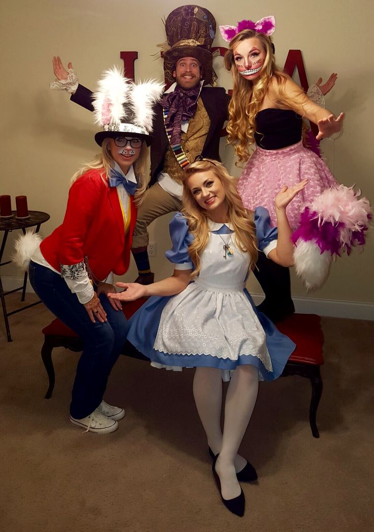 Bunny mad hatter Cheshire Cat and Alice in wonderland Halloween costume