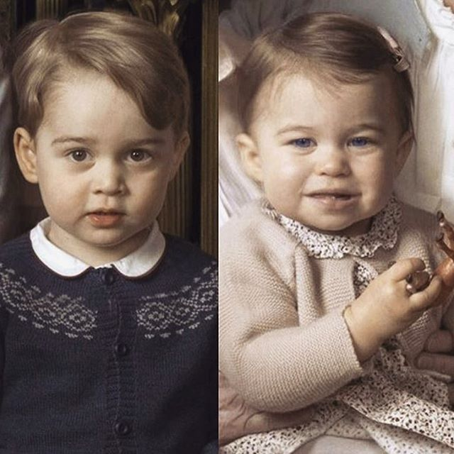 Close up of George and Charlotte from the official photograph of Queen Elizabeth and several of her young grandchildren and her great grandchildren.
