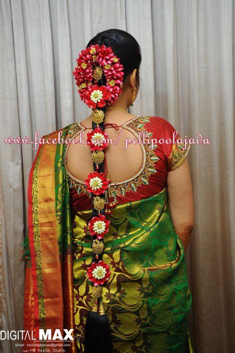 South Indian Bridal Hair Style Wedding By Pellipoolajada
