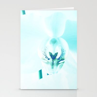 Orchids in Blue Stationery Cards by Fine2art - $12.00