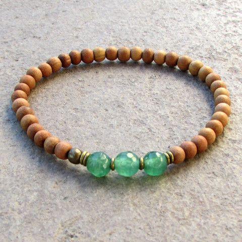 Sandalwood and aventurine mala bracelet #fourth #chakra #sandalwood #aventurine #mala #bracelet