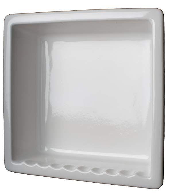1 Compartment Tile Recessed Ceramic Shower Niche Shelf Gloss White