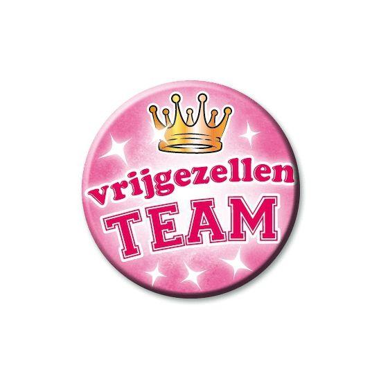 Speldje vrijgezellen team  Roze vrijgezellen button. Button in vrolijke kleuren met de opdruk: Vrijgezellen team! Formaat: 55 cm.  EUR 1.99  Meer informatie  #sinterklaas #zwartepiet