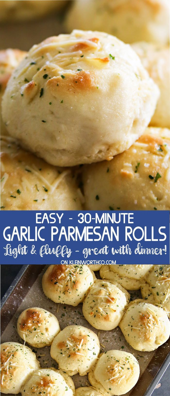 30-Minute Garlic Parmesan Dinner Rolls, the perfect bread recipe to serve with any meal. Great for holidays, so simple to make. Cheesy, garlicky goodness! via @KleinworthCo