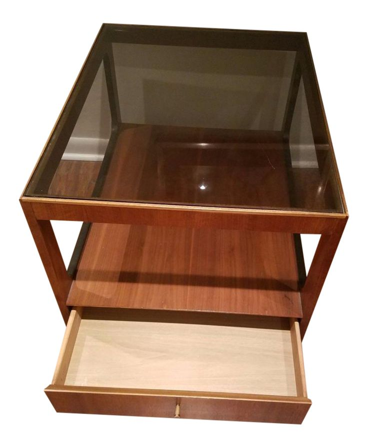 Mid-Century Modern Lane Teak Table With Smoked Glass Top on Chairish.com