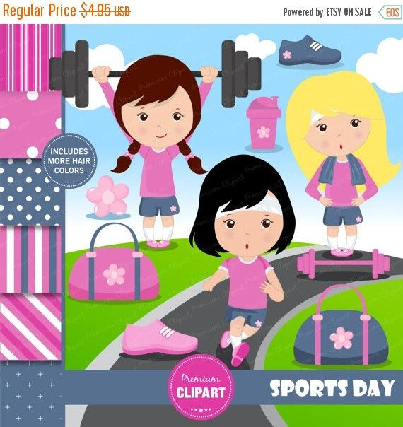 70% OFF SALE Sport girls clipart, Sports clipart, Girls sport, Running clipart, Fitness clipart, Digital papers, Commercial use - CL147 by PremiumClipart on Etsy
