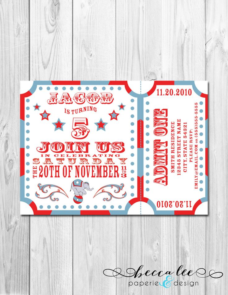 77 best circus party images on Pinterest Boy birthday, Carnivals - circus party invitation