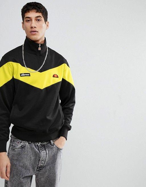 0185855b48 ellesse Half Zip Sweatshirt With Chevron Panel In Black | asos men ...