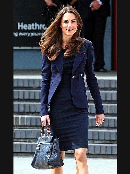 Kate Middleton - Roland Mouret shift, Smythe blazer, and Mulberry bag