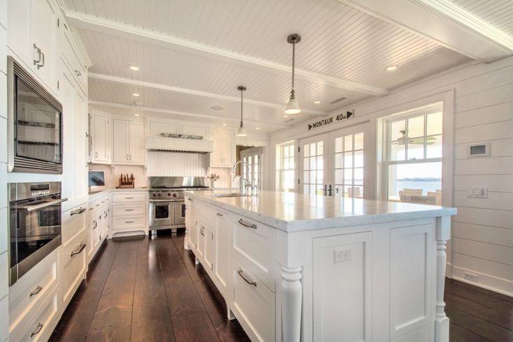 white hamptons kitchen love the walls & floor!
