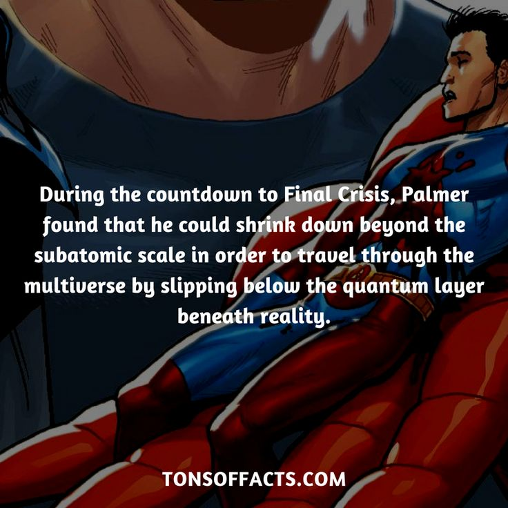 During the countdown to Final Crisis, Palmer found that he could shrink down beyond the subatomic scale in order to travel through the multiverse by slipping below the quantum layer beneath reality. #raypalmer #tvshow #justiceleague #comics #dccomics #interesting #fact #facts #trivia #superheroes #memes #1 #movies #theatom #greenarrow