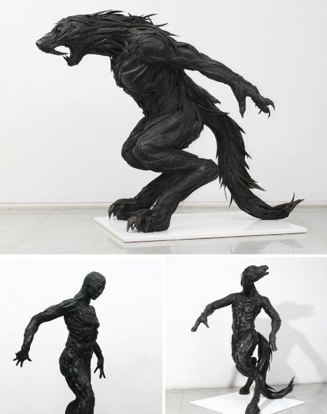 """Korean artist Yong Ho Ji has gone above and beyond all of these innovative re-uses for old tires with a sculptural series that binds strips of used tires together with synthetic resins. His complex works, depicting humans and animals, makes a statement about humanity's responsibility for nature."""