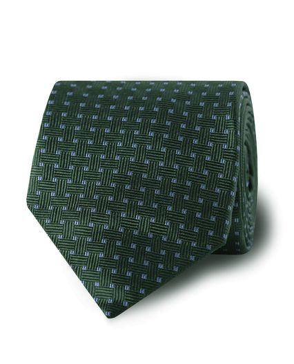 Green Blue Squares Silk Tie