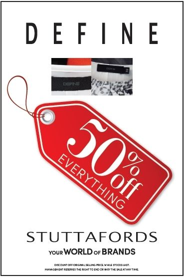 How bout 50% off everything Define?! Offer on at all SA @Stuttafords_za except Cresta! While stocks last! #BlackFriday