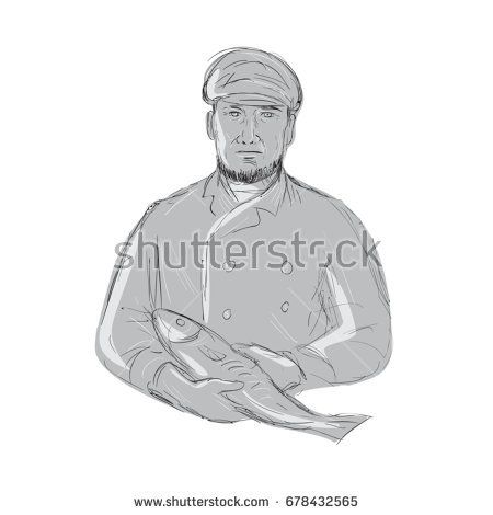 Illustration of a Vintage Fishmonger wearing cap Holding Fish front view done in hand sketch Drawing style.  #fishmonger #drawing #illustration