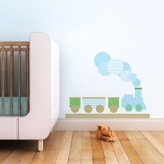 Modern Train Fabric Wall Decal - $89.95 - Trendy Peas' designs are kid-friendly, modern and elegant. The hip range of wall art will add a modern flair to any child's room, creating spaces that can be enjoyed by both parents and kids.  #sweetcreations #kids #baby #boys #bedroom #nursery #decor #walldecal #train #choochoo #TrendyPeas