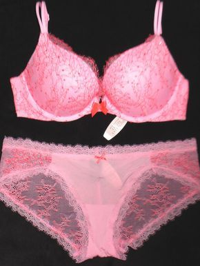 b0d80a3d28e2 Victorias Secret Pink Lace VERY SEXY Push Up Bra Panty LOT 32DD M ...