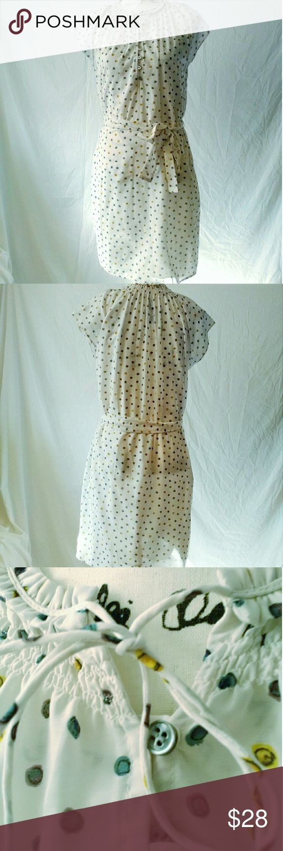 NWT MNG Off White Polka Dot Dress Tunic 6 New with tags MNG by Mango Off White Polka Dot Dress with sash belt.   This adorable and versatile polka dot tunic dress has a buttoned neckline that ties at the top, featuring a removable slip and sash belt. Mango  Dresses