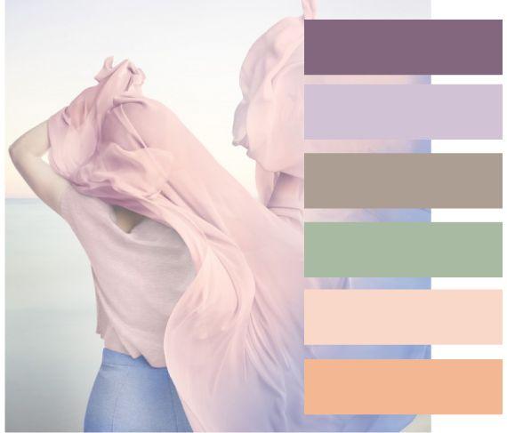Модное сочетание 2016. Палитра оттенков с модным сочетанием розового и голубого сосредоточенная на серо-виноградном и персиковым состоит из таких цветов, как виноградный сок (18-3211 ТСХ), лавандовый туман (13-3820 ТСХ), дымчатый зеленый (15-6315 ТСХ), раковина гребешка (12-1010 ТСХ), персиковый кварц (13-1125 ТСХ).