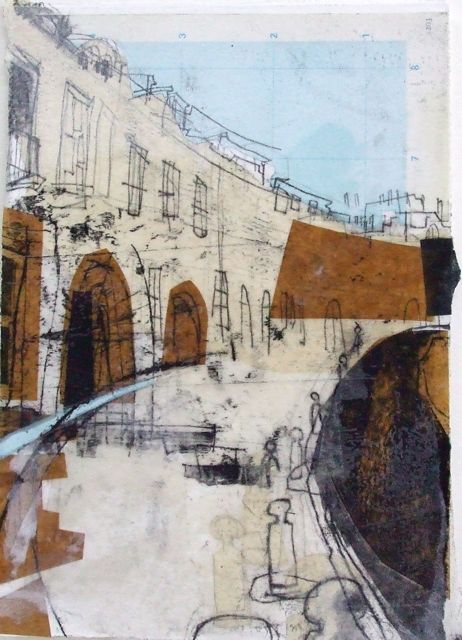 Lucy Jones Coates Crescent With Map Sky Edinburgh Collage With Monoprint And Wax 19 X 28cm