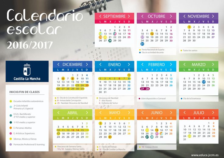 Calendario Escolar 2016/2017   Portal de Educación de la Junta de Comunidades de Castilla - La Mancha