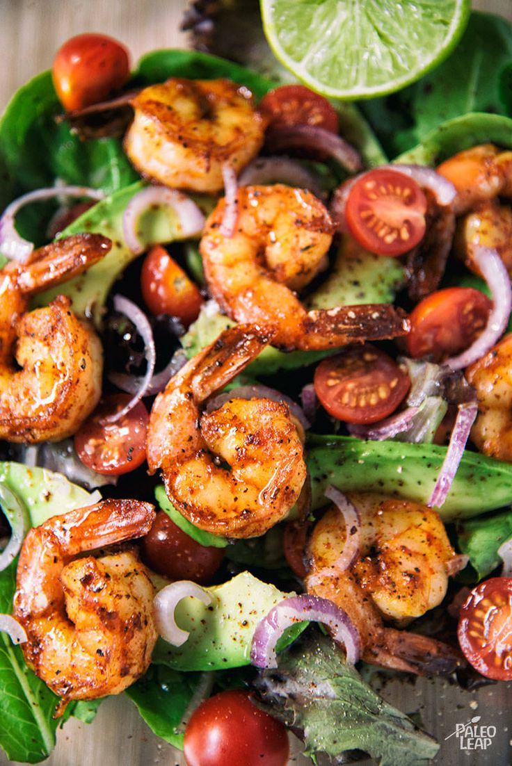 Ditch the tortilla and make your own taco-seasoned shrimp salad with a lime marinade and creamy avocado.