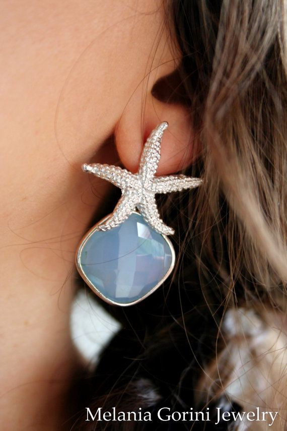 925 Sterling silver earrings with starfish by MelaniaGoriniJewelry