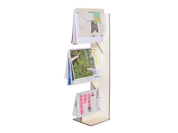 Laser cortar rack de madeira magazine, revista rack minimalista, revista rack de madeira, mobiliário minimalista