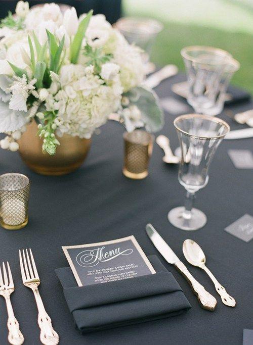 Guardanapo preto mesa de casamento