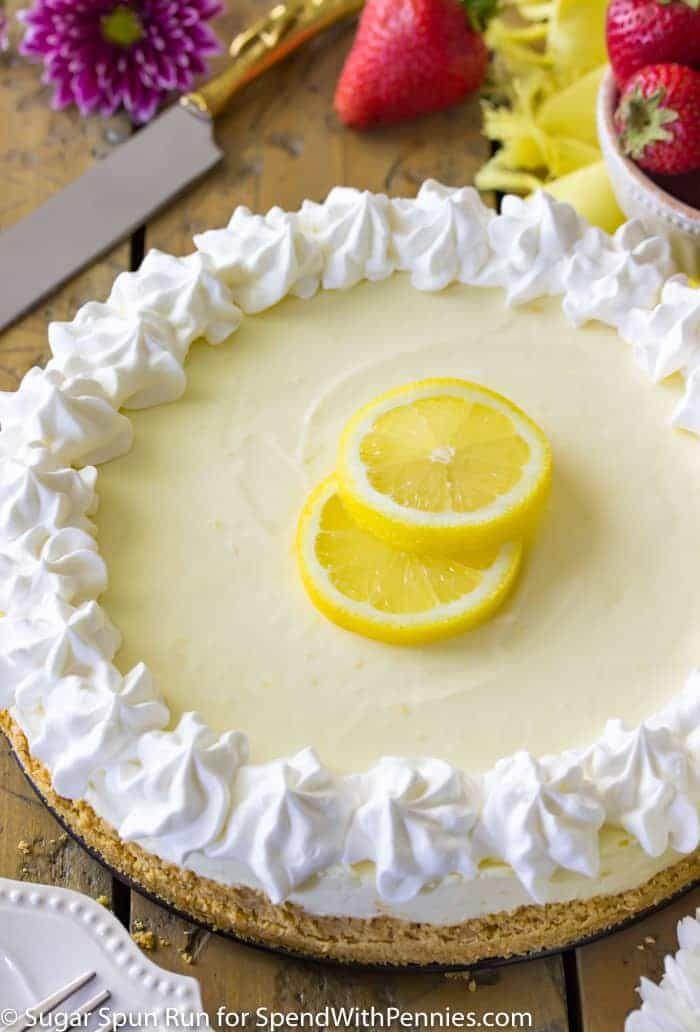 A sweet, tart, and simple no-bake lemon cheesecake
