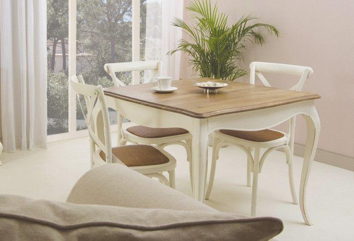 mesa de comedor vintage cuadrada maison en mbar muebles - Mesa Comedor Vintage