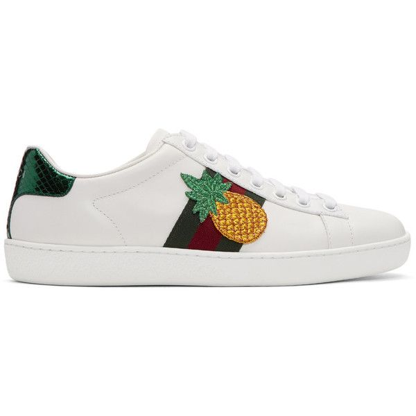 Gucci White Pineapple and Ladybug Ace Sneakers (10,635 MXN) ❤ liked on Polyvore featuring shoes, sneakers, white, gucci sneakers, leather low top sneakers, white leather sneakers, lace up shoes and low profile sneakers