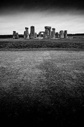 Stonehenge in black and white - stock photo