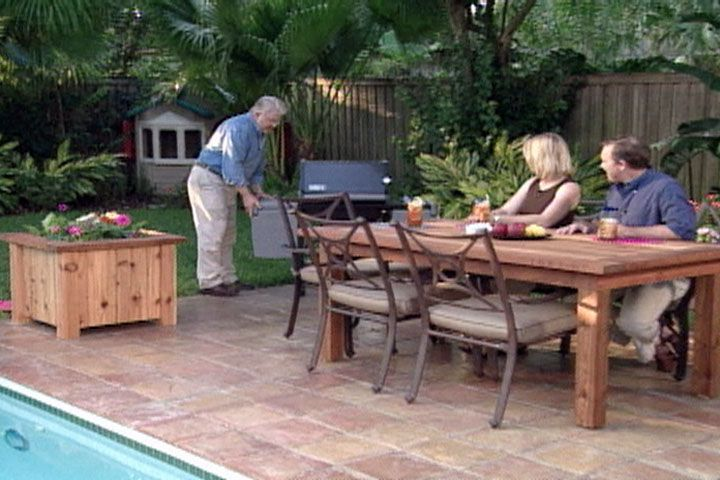 Backyard Table Match : create a sturdy outdoor dining table with matching planters  Outdoor