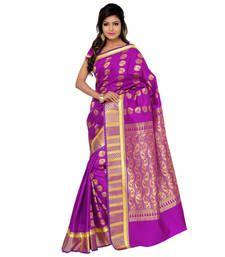 Buy Eid Special Purple printed art silk saree with blouse kanchipuram-silk-saree online