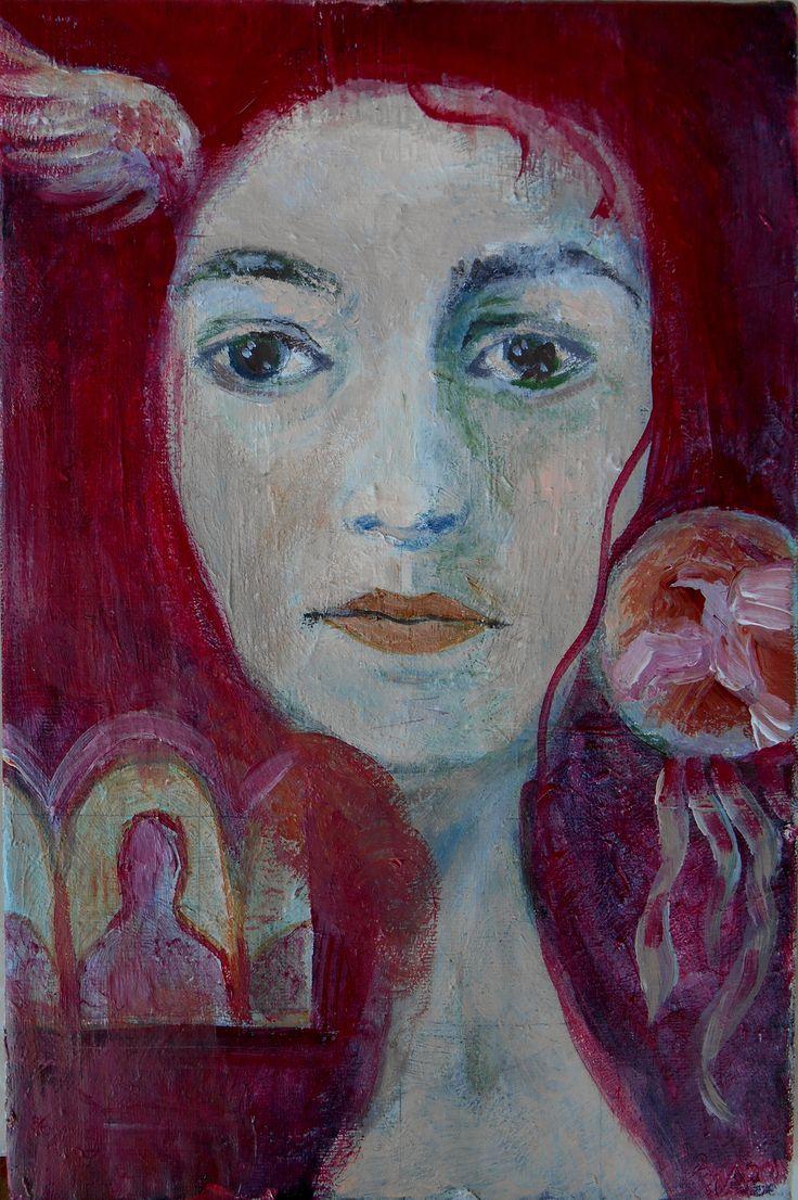 """""""on her mind"""" acrylic on canvas 30x20 cm"""