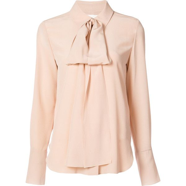 4c52d76992 Chloé Peach Bow Blouse (315.460 HUF) ❤ liked on Polyvore featuring ...
