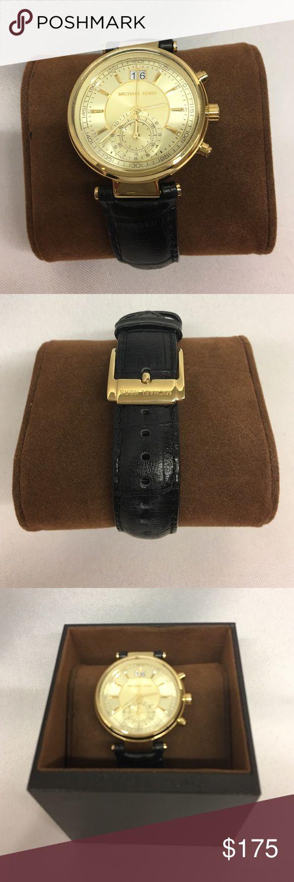 MK watch MK men's watch black leather bank, gold embellishments, never worn, NIB Michael Kors Jewelry