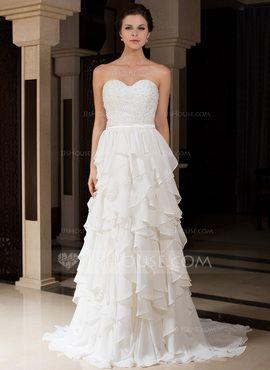 A-Line/Princess Sweetheart Sweep Train Chiffon Charmeuse Wedding Dress With Ruffle Beadwork (007027466)