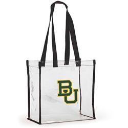 Baylor University Clear Stadium Tote. Clearly a huge fan! This see-thru totes allows you to breeze into the stadium and show your spirit all at the same time. Official NFL approved size of 12 x 12 x 6,  stadium approved. #gamedayready #stadiumapproved #cleartote #shopdesden