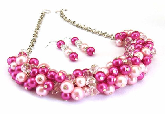 Pearl Cluster Bridal Necklace Pearl Necklace by crystaljemscouk