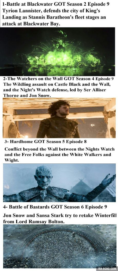 Which one of those battles in Game of Thrones is the best in terms of plot, strategy, visual and sound effects?