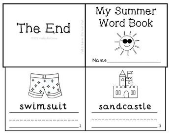 Summer Vocabulary Writing Practice Mini Book Reader End