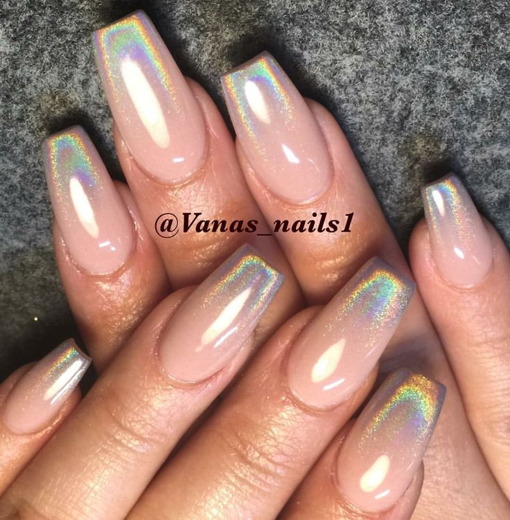 Nude and holographic ombré nails http://hubz.info/113/stunning-wedding-nail-art-desgins