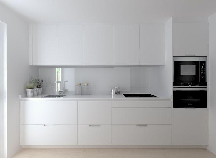 Cocina Santos Modelo Minos Estratificado Blanco Encimera Silestone Blanco