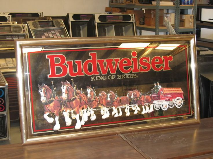 Large Budweiser Mirror | Large Budweiser King Of Beers ...