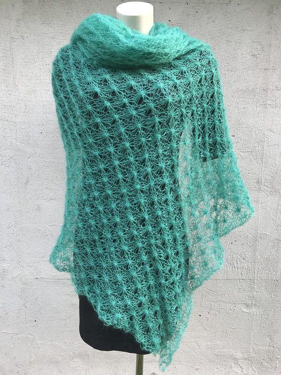 Smaragd groene sjaal avond accessoire Mohair sjaal Silkmohair