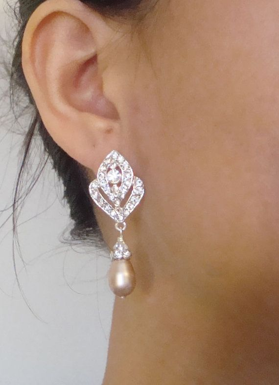 CHAMPAGNE Pearl Wedding Earrings Vintage Style by luxedeluxe, $52.00