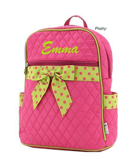Personalized Kid Backpacks in Pink with Green polka dot ribbon accent  LARGE on Etsy, $29.00